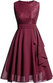 KEERADS Damen Spitzenkleid Elegant Cocktailkleid Festliche Brautjungfernkleider für Hochzeit Knielang AbendkleiderVerpackung MEHRWEG