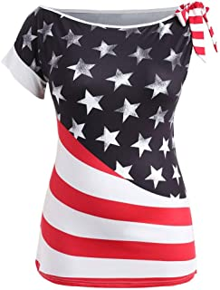 Han Shi Womens American Flag Printed T-Shirt One Shoulder Tie Sleeve Blouse Top