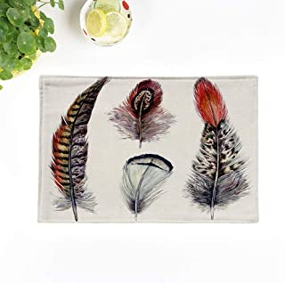 Topyee Placemats Set of 6 Collection of Watercolor Pheasant Feathers Wild Nature Bird Plumage Boho Elements 17x12.5 Inch Non-Slip Washable Place Mats for Kitchen Dinner Table Mats Parties Decor