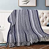 Rustic Boho Throw Blankets Cotton Stripe Woven Soft and Cozy Vintage Throws with Decorative Fringe for Chair, Couch and Picnic Blanket - Navy Blue - 50 x 60 Inches