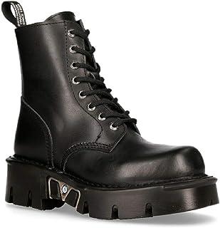 New Rock Mili-084N-S3 Noir Gothique Bottes Militaire Unisexe 8 Trou Motard Chaussures Gothique