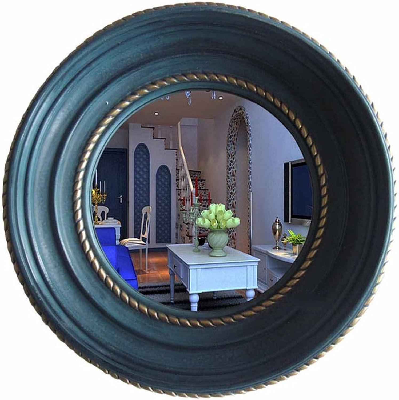 American Country Round Makeup Mirror Bathroom Vanity Mirror Wall-Mounted Bathroom Mirror (color    2) (color    2)