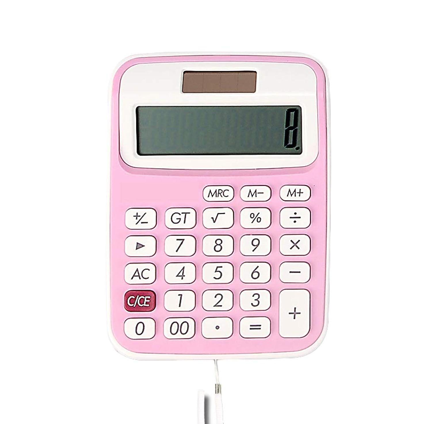 極地病者うがいHaodan 電卓 ソーラーデュアルパワー ポータブル ミニ計算機 キュート 小型 10桁 コンピューター ランヤード付き ピンク 12366