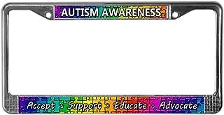 CafePress Autism Awareness Chrome License Plate Frame, License Tag Holder