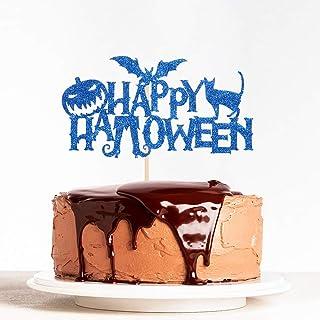 WeBenison Blue Glitter Happy Halloween Cake Topper Bat Pumpkin Theme, Happy Boo Party Decorations