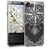 kwmobile BlackBerry KEYone (Key1) Hülle - Handyhülle für BlackBerry KEYone (Key1) - Handy Case in Kompass Barock Design Weiß Transparent