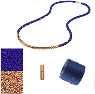 Beadaholique Refill - Long Beaded Kumihimo Necklace - Blue & Rose Gold - Exclusive Jewelry Kit