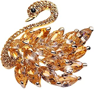 M&D Jewelry Noble Swan Brooch Pins for Women Animal Brooch Pin Prong Beautiful Cubic Zirconia