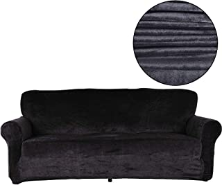 TIENCIY 2 Piece Modern Velvet-Sofa Slipcover Covers for Living Room,Couch Covers for Dogs, Sofa Slipcover,Couch slipcover (Sofa, Black - Solid)
