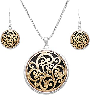 Rosemarie Collections Beautiful Two Tone Medallion Pendant Necklace Earrings Jewelry Set