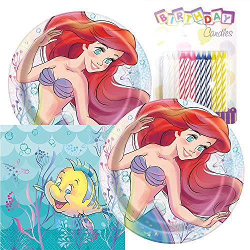 The Little Mermaid Themed Party Pack – Includes Paper Plates & Luncheon Napkins Plus 24 Birthday Candles – Serves 16