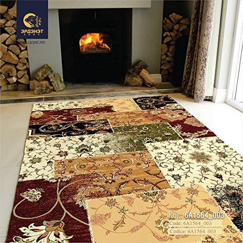Erdenet Carpet Tappeto Salotto Moderno Patchwork 200x300 cm Lana, Giallo, Beige, Rosso, Nero, Multicolore (200_x_300)