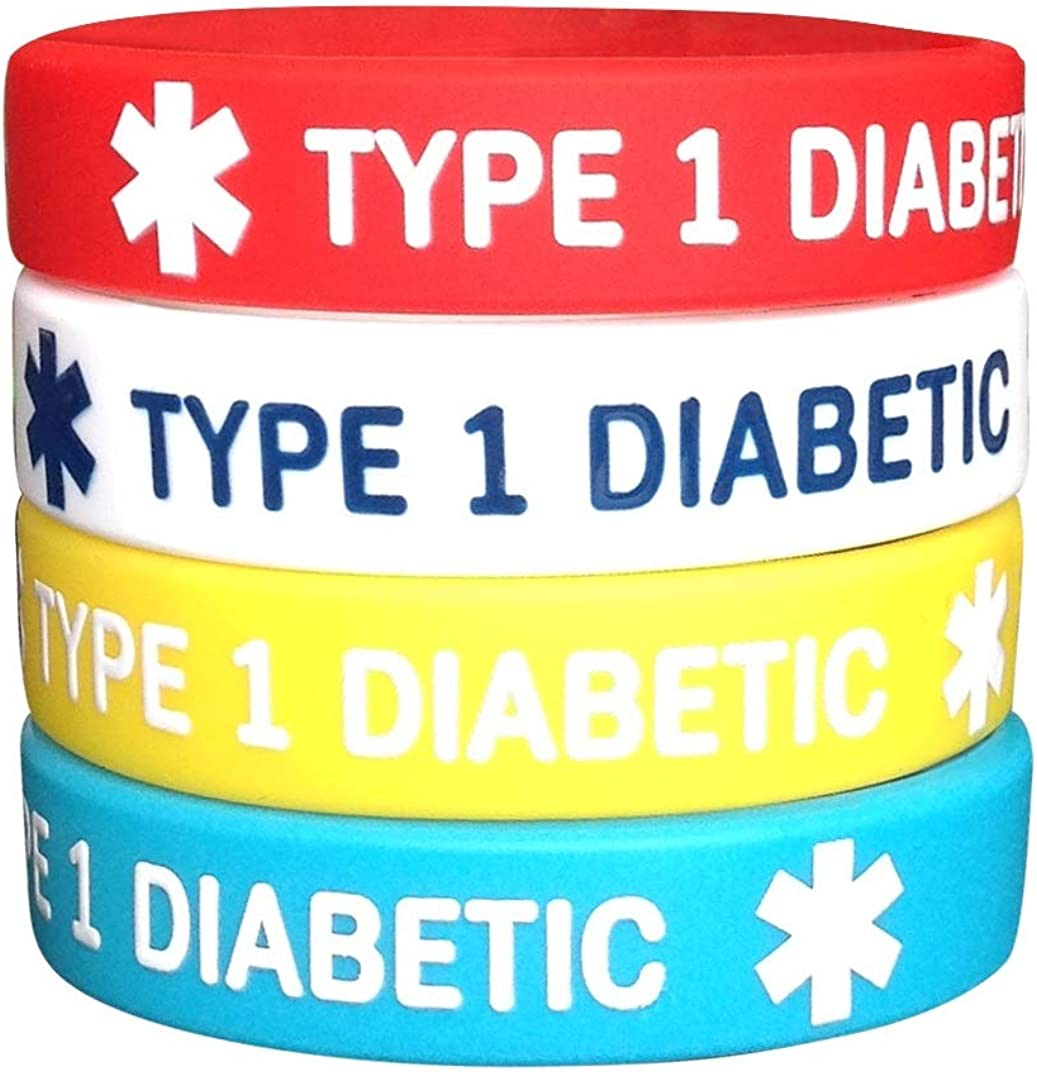 Diabetes Type 1 Silicone Bracelets 6.3 inches for Kids Teens Child 4 Pack