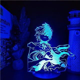 Luz de noche 3D para niños Boku no Hero Academia Anime LAMP Todoroki Shoto Luces de noche LED My Hero Academia Lampara para (con control remoto)