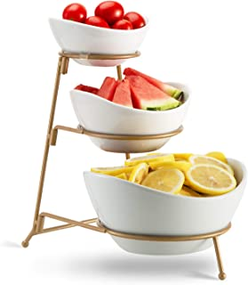 3 Tier Oval Bowl Set with Metal Rack,HabiLife Three Ceramic Fruit Bowl Serving - Tiered Serving Stand - Dessert Appetizer Cake Candy Chip Dip (Gold)