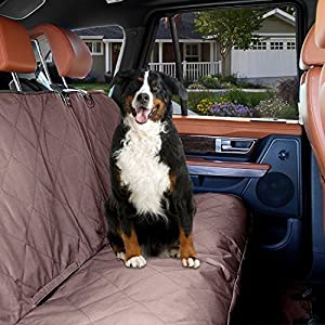 Dog Car Back Seat Cover KOPEKS Dogs and Pets Waterproof Non Slip Padded Quilted Protector with Seat Anchors and Head Straps Universal Car and SUV Rear Seat Cover Brown
