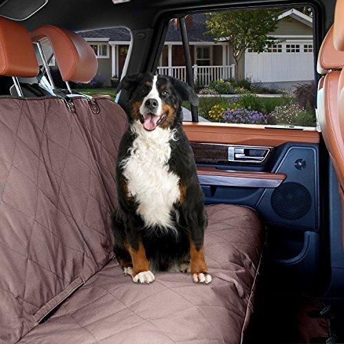 Hond Auto Achterbank Cover - KOPEKS Honden en Huisdieren Waterdicht Niet Slip Gecapitonneerde Gewatteerde Beschermer met Stoelankers en Hoofdbanden - Universele Auto en SUV Achterbank Cover - Bruin