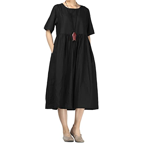 7a092e1542f Mordenmiss Women's Cotton Linen Dress Summer Midi Dresses with Pockets
