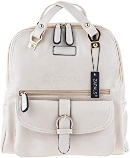 Zapals PU Leather Convertible Backpack Shoulder Bag - Off White