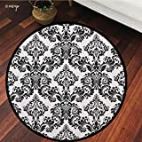 №09058 Round Area Rug Floor Kitchen Carpet, Damask Seamless Floral Pattern. Royal Wallpaper. Flowers On A Black and White Background, for Home Decor