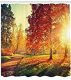 Bosque de Mon Monge en otoño de Cortina de Ducha Impermeable Decorativa con impresión HD, Adecuada para baño, 12 Ganchos Gratis, 180x200cm