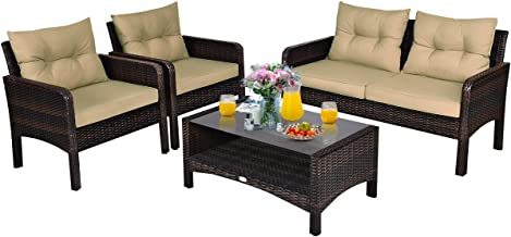 Tangkula 4 Piece Patio Furniture Set, Outdoor Wicker Conversation Set with Glass Top Coffee Table, All Weather Proof and T...