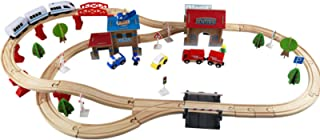 Wooden Train Track Set Toy, Vehicle Set Railway Track Building Kit 88 Pcs Track Accessories Toy Learning Educational Toys