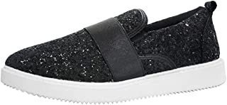 ROXY-ROSE Glitter Leopard Loafer Sneakers Casual Slip on Sparkly Shoes for Women