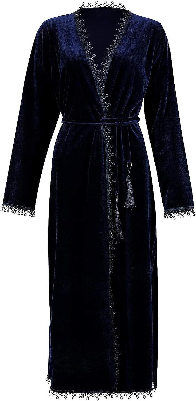 BellisMira Women's Velvet Dressing Gown Winter Pajamas Warm Bathrobe Wrap Kimono Elegant Flannal Robe Sleepwear
