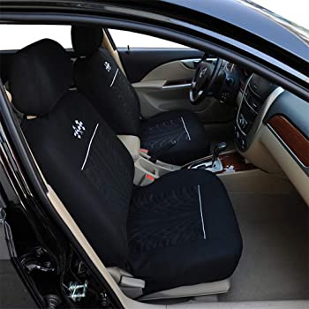 AUTOFAN Audel Universal Full Set Fabric Car Seat Covers Embossed Cloth Car Seat Protector(Airbag Compatible Anti-Slip)