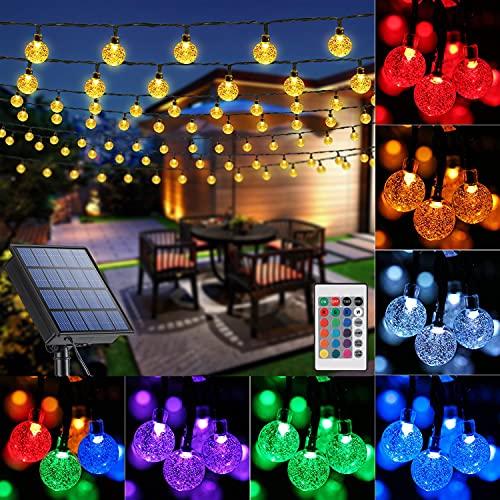 LYHOPE Solar Outdoor String Lights, 35.6ft 60 LED Crystal...