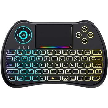 QPAU [Layout Italiano] Mini Tastiera Retroilluminata, 2.4Ghz Mini Tastiera Senza Fili Wireless con Touchpad per PC, Pad, Android/Google TV Box, PS3, Xbox 360, HTPC, IPTV