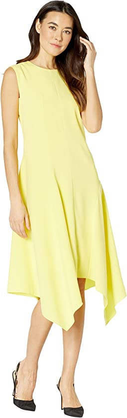 Sleeveless Satin Back Texture Asymmetrical Hem Dress