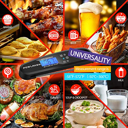 Powlaken Instant Read Meat Thermometer for Kitchen Cooking, Ultra Fast Precise Waterproof Digital Food Thermometer with Backlight, Magnet and Foldable Probe for Deep Fry, Outdoor BBQ, Grill (Black)