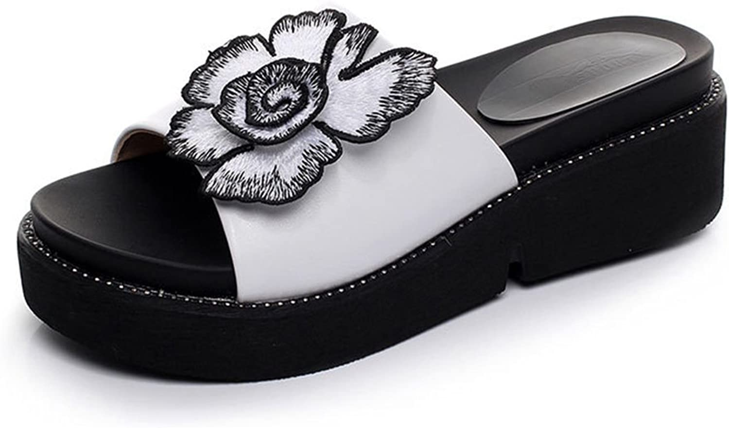Mobnau Women's Leather Flowers Casual Sandles Slide Sandals