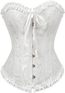 Women's Bustier Corset Sexy Satin Brocade Overbust Waist Cincher Shapewear Top