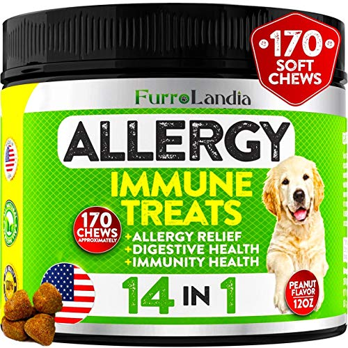Allergy Relief Immune Supplement for Dogs - Seasonal Allergies  Itch Relief for Dogs  Skin Hot Spots - Colostrum  Digestive Probiotics for Skin Health - Made in Usa | 170 Treats - Peanut Butter Flavor