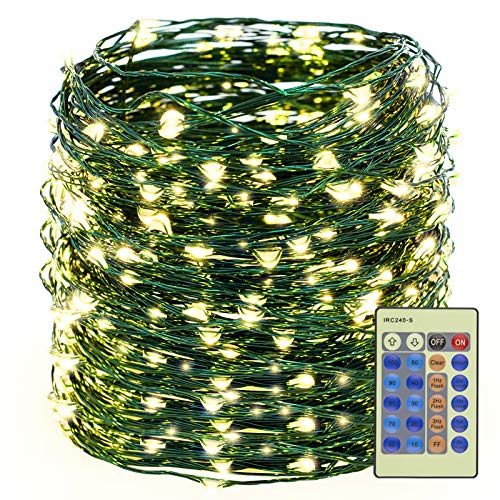 Decute 500LED Warm White Christmas Tree String Lights 164FT Green Wire Dimmable with Remote Control, UL Cerficated Plug in Fairy Starry Lights Decorative for Party Wedding Indoor Outdoor
