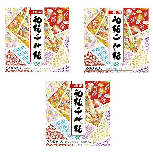 """Origami Paper - Washi Chiyogami Style, 300 Sheets�3 , (900sheets) 10 Designs - MINI Size (3"""" Square) (Japan Import Made in Japan)"""