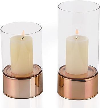 Adeco Tea Light Candle Holder Copper Golden (Set of 2)