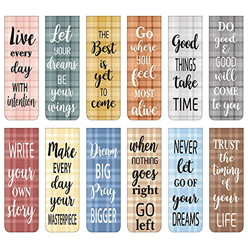 60 Pieces Inspirational Magnetic Bookmarks Motivational Bookmarks Magnetic Page Markers Assorted Magnet Page Clips for Students Teachers School Home Office Supplies (Simple Style)
