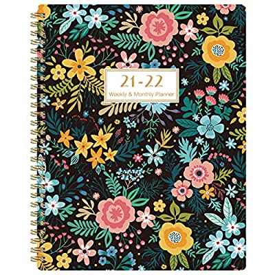 """2020-2021 Student Planner - Academic Weekly & Monthly Planner with Marked Tabs, 8.5"""" x 11"""", July 2020 - June 2021, Twin-Wire Binding, 2 Ruled Pages, Map & Time Zone, Variety Stickers, Blooming Flowers"""