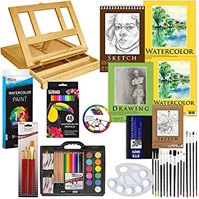 US Art Supply Deluxe Painting & Sketch Drawing Set - Great Student Artist Starter Set