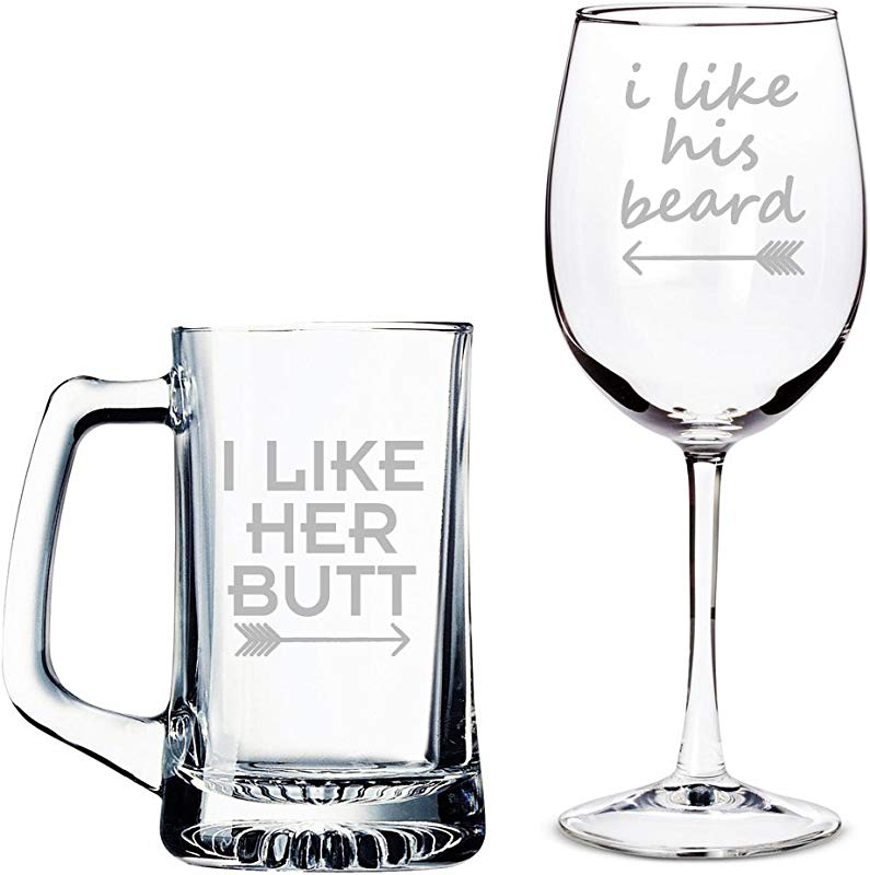 I Like Her Butt Beer Mug And I Like His Beard Wine Glass Set