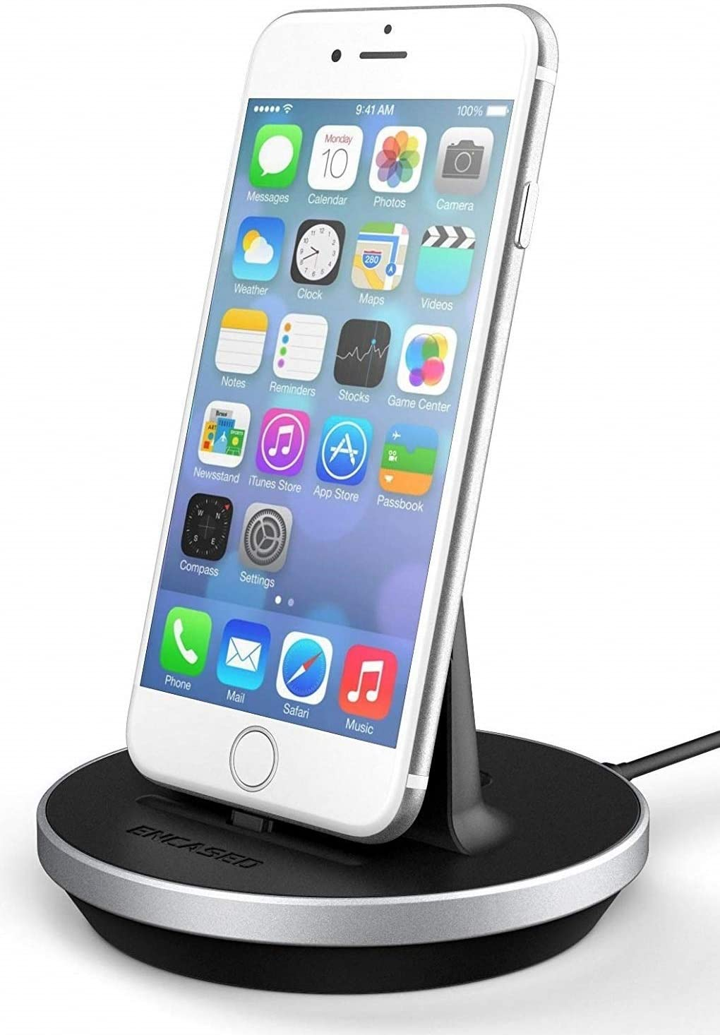 Encased Desktop Lightning Compatible Charging Stand, MFI Certified iPhone Charger (Adjustable) Case Friendly Design - Aluminum/Black (Compatible to Apple iPhone 6/6S/7/Plus/8)