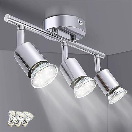 Osairous Spots Plafond Modernes, Plafonnier LED Orientables pour Salon Couloir Chambre, Luminaire Plafonnier avec 3 Ampoules LED GU10 3x4W 1200LM IP20 230V