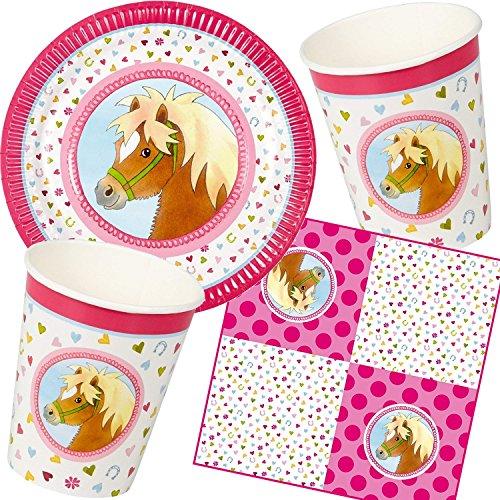 Neu: 61-TLG. Party-Set * Mein Ponyhof * für Kindergeburtstag | Teller + Becher + Servietten + Luftballons | Kinder Geburtstag Motto Mädchen Reiten Pferd
