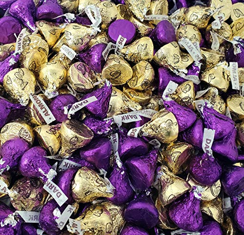 Dark Chocolate KISSES Purple Foil, Milk Chocolate Almond KISSES Gold Foil, Bulk Candy Pack 2 Lbs