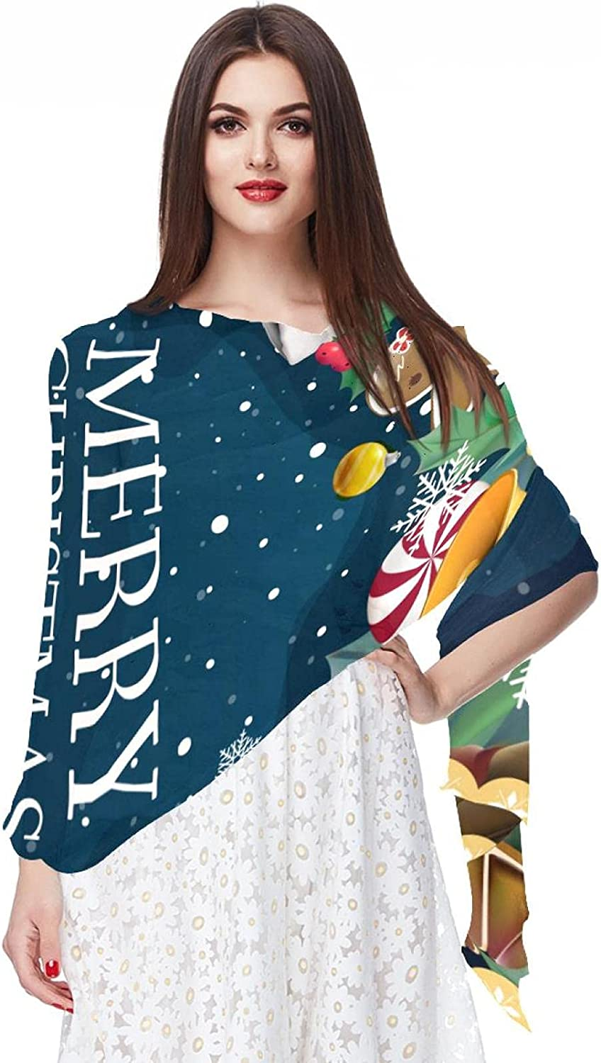 Scarfs for Women Lightweight Fashion Scarves Print Floral Pattern Scarf Shawl Wraps, Merry Christmas Decoration