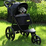 VIAGDO Luxury Dog Stroller Jogger for Small Medium Dogs & Cats, No-Zip Pet Stroller Foldable 3-Wheel Cats Stroller with Suspension System/Link Brake/One-Hand Fold, Max. Loading 55 LBS (Black)
